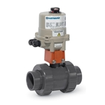 These true union electrically actuated ball valves feature corrosion-resistant plastic parts and NEMA 4X enclosures for a long, trouble-free life. Ball valves with upgraded HRSN2 series actuators close more slowly (9.2 seconds) to prevent water hammer. These actuated valves feature ...