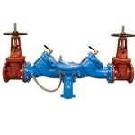 Model is supplied with OS&Y gate valve. Strainers are not included but recommended; stainless steel strainers available separately (stock # 15624). Materials: FDA epoxy-coated cast iron check valve bodies; SS seats and trim; lead-free bronze test cocks; and either lead-free ...