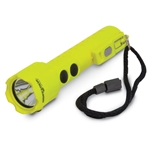 This CREE® LED flashlight measures 7.2 x 1.1 inches and requires three AA batteries (not included). It features built-in belt clip, removable lanyard & dual body switches.