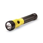 This C4® LED flashlight measures 8.07 x 1.21 inches and features a NiMh battery. It includes AC & DC charging cords and two charging bases.