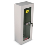 Durable steel fire extinguisher cabinets feature a recoatable white polyester finish. Locking doors prevent tampering and theft. Built-in Break Rite safety handle eliminates the need for hammers or breaker bars. Fire extinguishers not included; order separately.