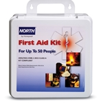 North first aid kits contain the items you need to comply with ANSI standards. Class B first aid stations are for higher-risk environments. 4-shelf steel cabinet you can hang in your facility. Kit Includes:(6) Adhesive Bandage, 4
