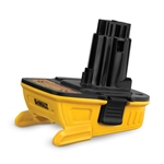 DeWalt 18V to 20V Adapter lets you use 20V MAX lithium ion batteries in most 18V DeWalt tools. Adapter requires 20V MAX DeWalt charger (stock # 77829; sold separately). Note: this adapter cannot be used with DeWalt batteries in DC970 ...