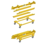 Attach to caster frames to transform the disassembled gantry into a transportable handcart.