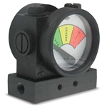 This unique differential pressure gauge lets you know the state of an inline filter at a glance. A simple dial indicator displays status as one of three conditions: clean (green), change (yellow), or dirty (red). Pressure drop is determined on ...