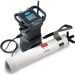 Battery assembly provides auxiliary power source for Hach's FL900 flow logger (not included). Mounting is via integral metal hanging bar and strap remotely from FL900. Alkaline battery pack rating is 12VDC, 98 Ah (up to 4 A max current).