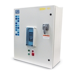 These wall-mounted general-purpose drive panels are quick and easy to set up and use, requiring only input power and output motor connections. NEMA 12 panels are ventilated for indoor use. They feature a door-mounted keypad, start/stop pushbuttons and run/fault pilot ...
