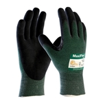"""MaxiFlex gloves feature an exceptionally thin lightweight design. They have a breathable microfoam nitrile-dipped palm for superior grip and abrasion resistance. Natural """"hand at rest"""" fit reduces hand fatigue for all-day comfort. MaxiFlex Cut gloves feature the same breathable seamless ..."""