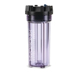 Durable polycarbonate construction stands up to demanding applications. The clear, durable exterior allows you to observe the condition of the filter cartridge.