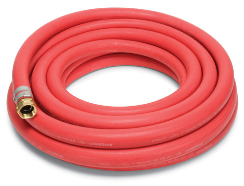 "Red Rubber Hose 1"" x 50' w/M & F Brass Cplg"