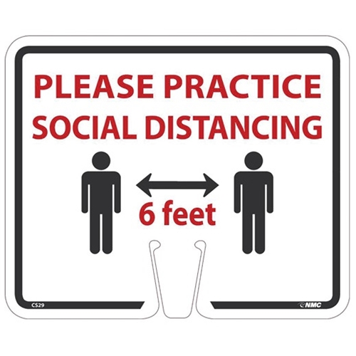 "Traffic Cone Sign: Please Practice Social Distancing, 10"" x 12"", Rigid Plastic, CS29"